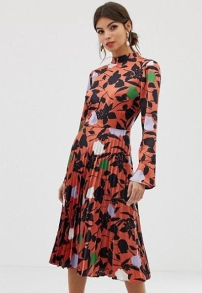 b78f9ac748898 ASOS Dresses | Design Pleated Midi Dress Wfluted Sleeve | Poshmark